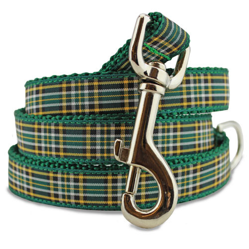 Plaid Dog Leash, Irish National Tartan, 4', 5', 6' Long, D-ring, Nylon