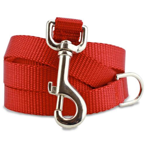Red Nylon Dog Leash, solid red dog leash, 4', 5', 6'.