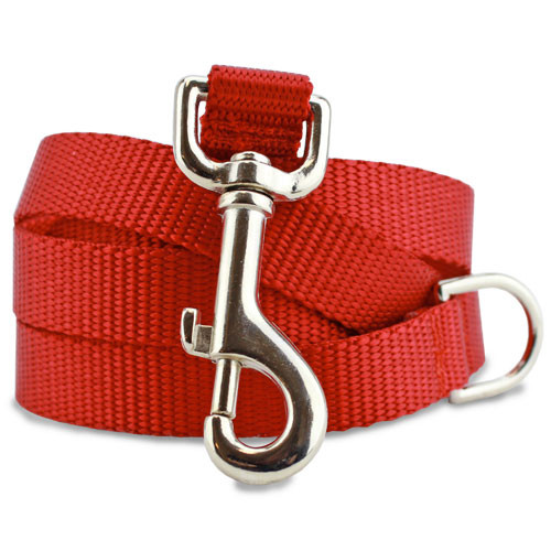 Red Nylon Dog Leash, solid red dog leash, 4', 5', 6'.