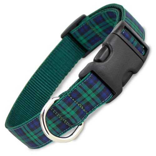 Plaid Dog Collar, Blackwatch Tartan, Quick Release Snap On Style Buckle, Adjustable