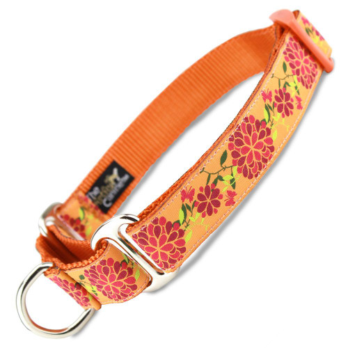 Summer Blossom Martingale dog Collar, Flowers, Limited Slip, Safety Collar