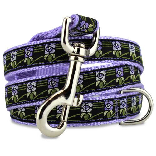 Vintage Flower Dog Leash, Purple Flowers, 5' Long, D-ring, Nylon