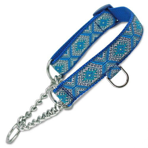 chain martingale dog collar, half-check dog collar, 1/2 check dog collar, chain martingale dog collar