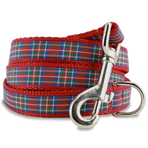 Scottish Plaid Dog Leash, Royal Stewart Tartan, 4', 5', 6' Long, D-ring, Nylon