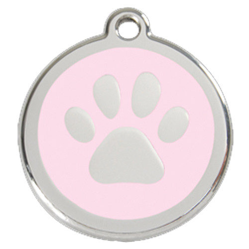 Paw Print Dog ID Tag, Pink Enameled, Stainless Steel
