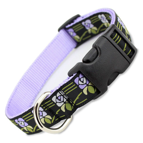 Purple Flower Dog Collar, Quick Release Snap On Style Buckle, Vintage Floral, Adjustable