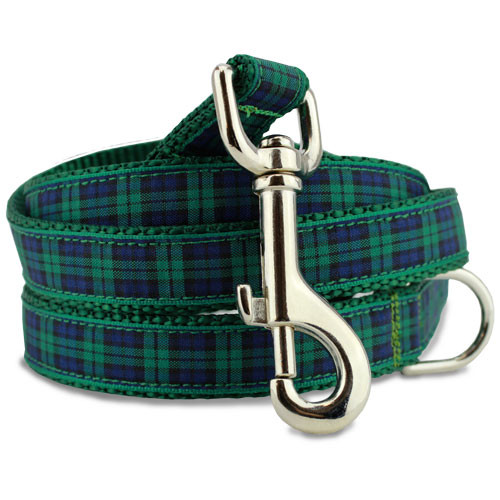 Plaid Dog Leash, Blackwatch Tartan, 4', 5', 6' Long, D-ring, Nylon