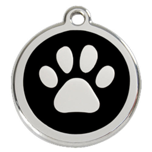 Par Print Dog ID Tag, Black Enameling, Stainless Steel Name Tag