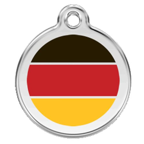 German Flag Dog ID Tag, Black, Yellow, Red, Stainless Steel Name Tag