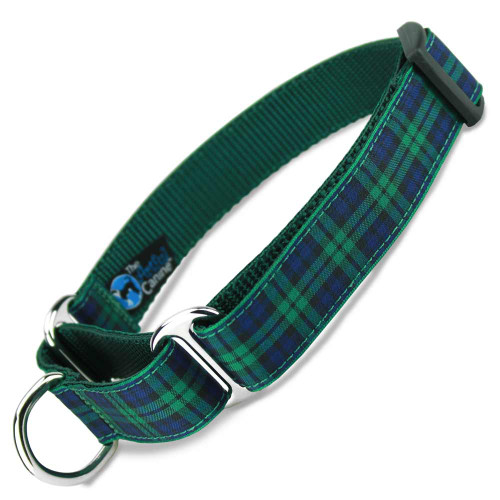 Martingale Dog Collar, Blackwatch Plaid Tartan, Limited Slip, Safety Collar