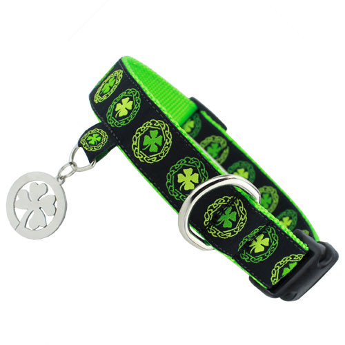Irish Dog Collar with Charm, Celtic Knots & Clover, Snap on style Buckle, Adjustable