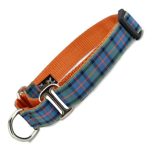 Plaid  Martingale Dog Collar, Orange Tartan, Limited Slip Dog Collar, Safety Collar