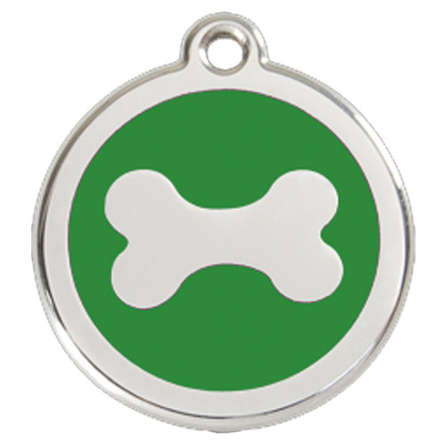 Bone Dog ID Tag, Green Enameled, Stainless Steel Name Tag