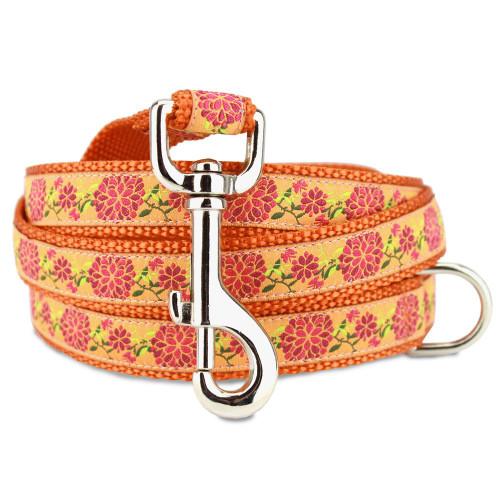 Summer Blossom Dog Leash, Orange Floral in, 4', 5', 6' Long, D-ring, Nylon