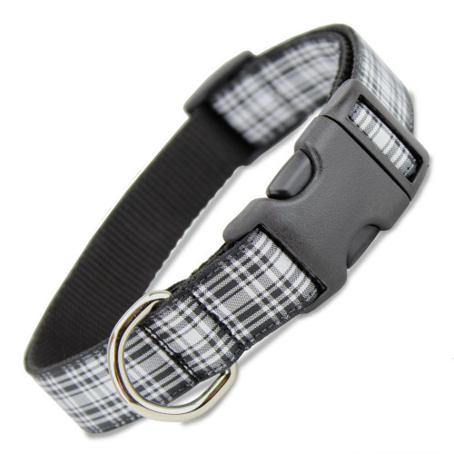 Plaid Dog Collar, Quick Release Snap On Style Buckle, Menzies Tartan, Adjustable