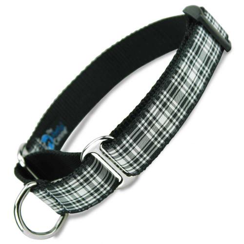 Plaid Martingale Dog Collar, black & white tartan, Limited Slip Dog Collar, Safety Collar