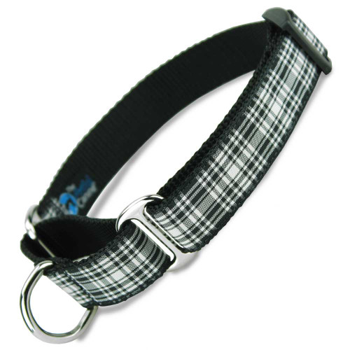 Plaid Martingale Dog Collar, black & white tartan, Limited Slip Dog Collar, Safety Collar