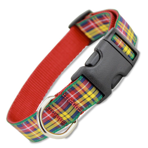 Plaid Dog Collar, Buchanan Tartan, Quick Release Snap On Style Buckle, Black & White, Adjustable