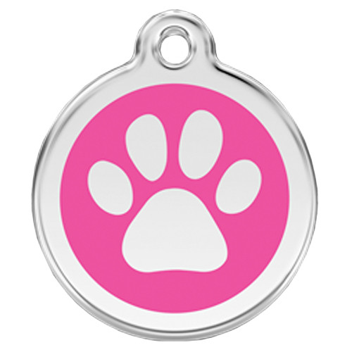 Paw Print Dog ID Tag, Hot Pink Glitter Enamel, Stainless Steel Name Tag