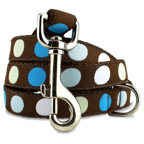 Polka Dot Dog Leash in Blue