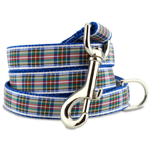 Plaid Dog Leash, Dress Stewart Tartan, 5' Long, D-ring, Nylon