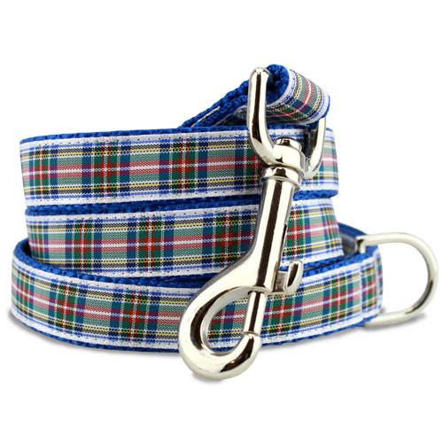 Plaid Dog Leash, Dress Stewart Tartan, 5' Long, D-ring, Nylon