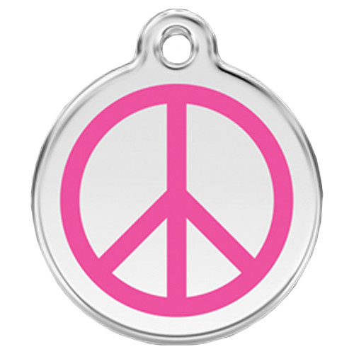 Peace Sign ID Tag, Hot Pink Enameling, Stainless Steel Name Tag