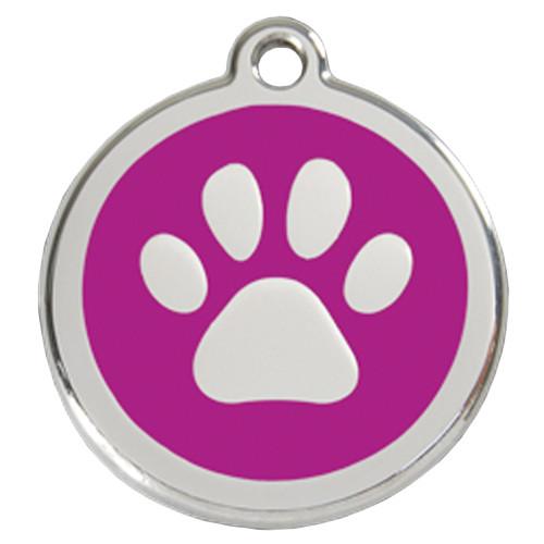 Paw Print Dog ID Tag, Purple Enameling, Stainless Steel Name Tag