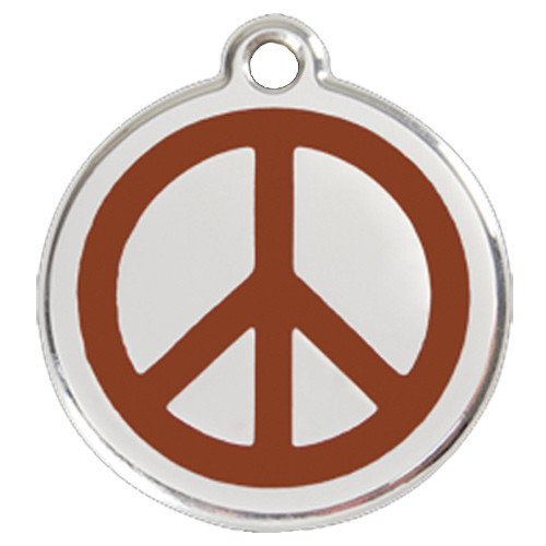 Peace Sign ID Tag, Brown Enameling, Stainless Steel Name Tag