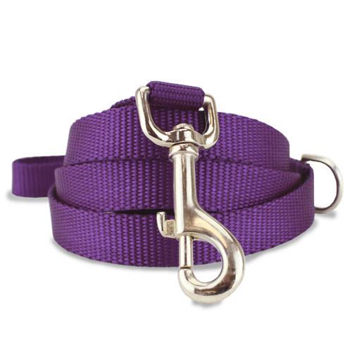 Purple Nylon Dog Leash, solid purple dog leash, 4', 5', 6'