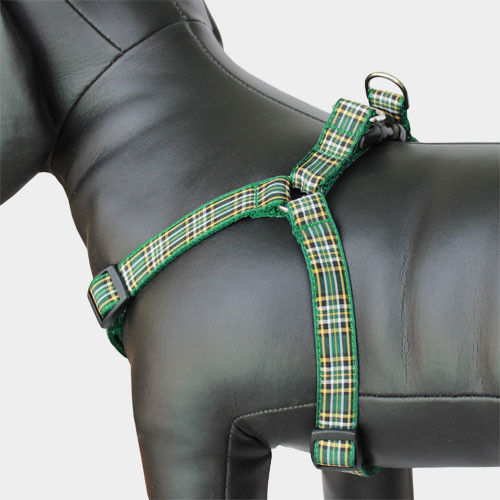 Plaid Dog Harness, Irish National Tartan, Choke-Free, Adjustable, Step in Style