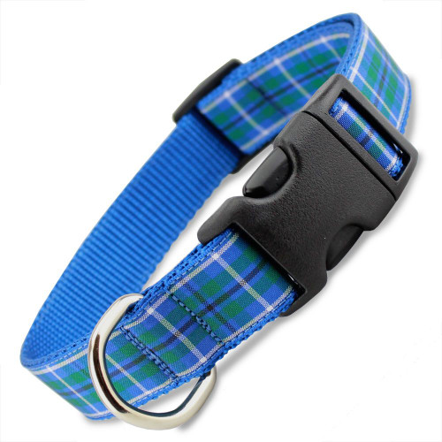 Blue Plaid Dog Collar, Quick Release Snap On Style Buckle, Douglas Tartan, Adjustable