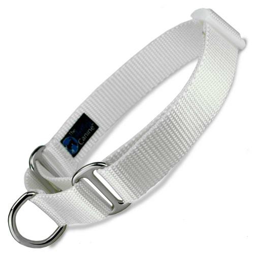 Martingale Dog Collar, White Nylon, wedding martingale, Safety Collar, training collar
