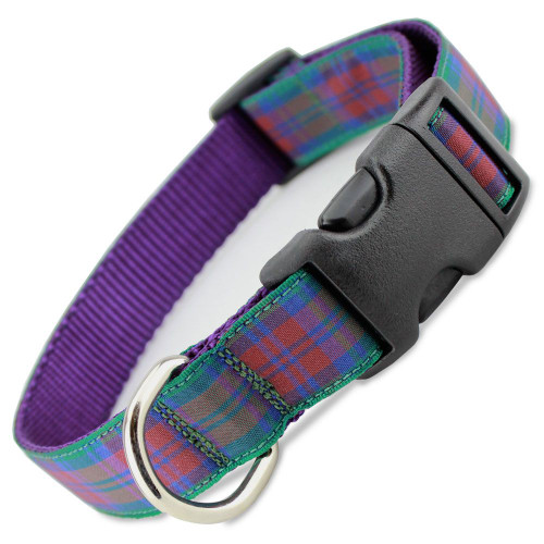 Plaid Dog Collar, Lindsay Tartan, Quick Release Snap On Style Buckle, Purple & Green, Adjustable