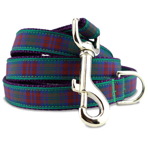 Plaid Dog Leash, Lindsay Tartan, 4', 5', 6' Long, D-ring, Nylon