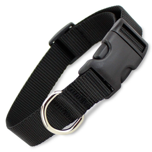 Black Dog Collar, Nylon, Quick Release Snap On Style Buckle, Adjustable