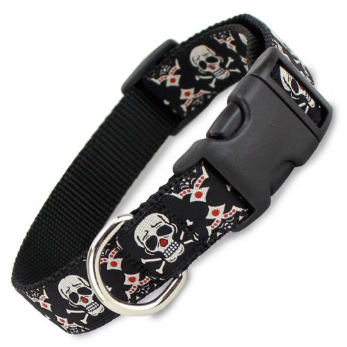 Tribal Skull & Crossbones Dog Collar, Quick Release Snap On Style Buckle, Adjustable