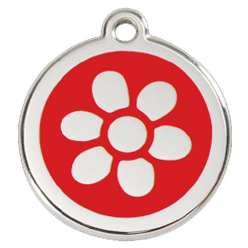 Flower Dog ID Tag, Red Enameling, Stainless Steel Name Tag