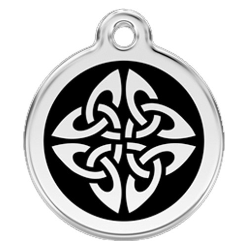 Tribal Dog ID Tag, Black Enamel, Stainless Steel Name Tag