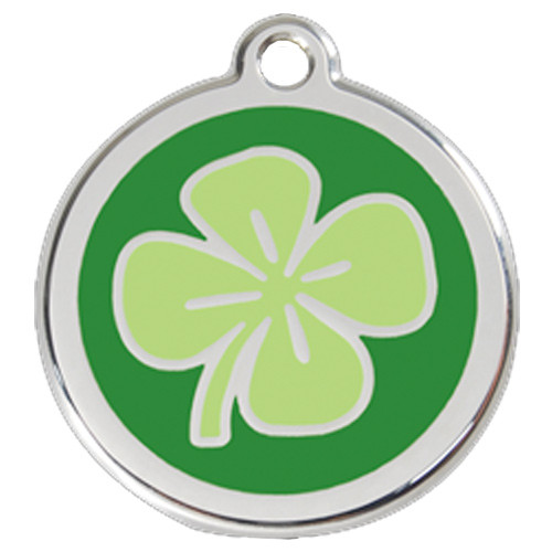 Clover Dog ID Tag, Green Enamel, Stainless Steel Irish Name Tag