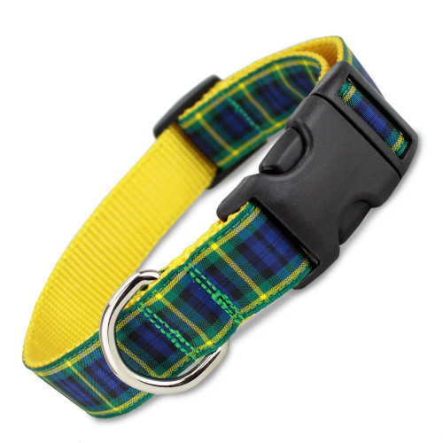 Plaid Dog Collar, Gordon Tartan, Snap on Buckle, Adjustable