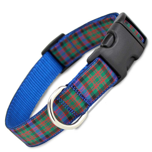 Plaid Dog Collar, MacDonald Tartan, Quick Release, Adjustable, Blue