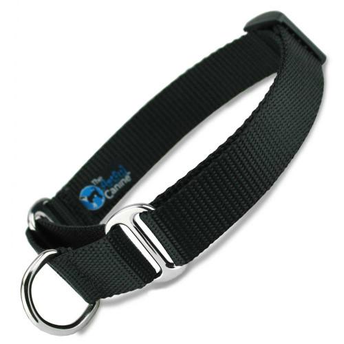 Black Martingale Dog Collar, Nylon, Training Dog Collar, Safety Dog Collar