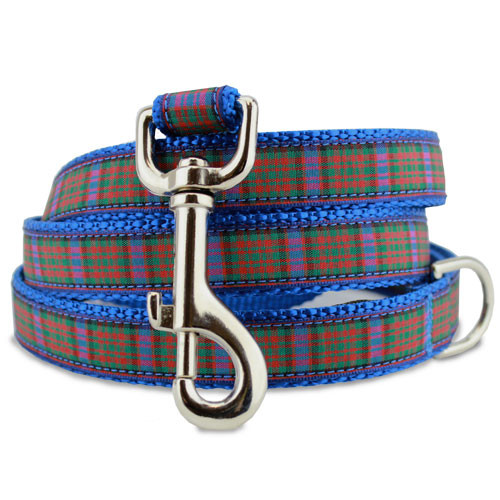 Plaid Dog Leash, MacDonald Tartan, 4', 5', 6' Long, D-ring, Nylon