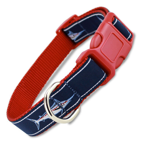 Marlin Fish Dog Collar, Quick Release Snap On Style Buckle, Nautical red & Navy, Adjustable
