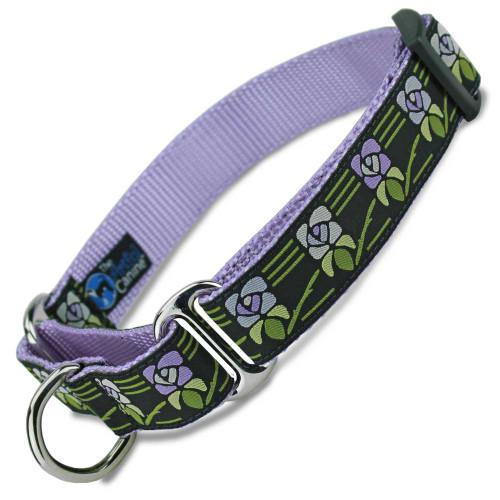 Vintage Flower Martingale dog Collar, Purple Flowers, Limited Slip Safety Collar