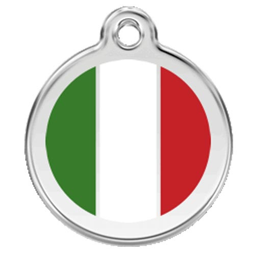 Italian Flag Dog ID Tag, Green Red Enamel, Stainess Steel Name Tag