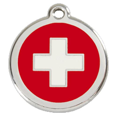 Swiss Cross Dog ID Tag, Red enamel, Stainless Steel Name Tag