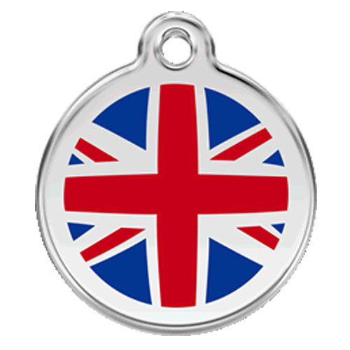 Union Jack Dog ID Tag, Red, Blue Enamel Stainless Steel Name Tag