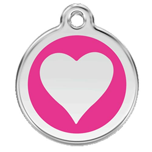 Heart Dog ID Tag, Hot Pink Enameling, Stainless Steel Name Tag
